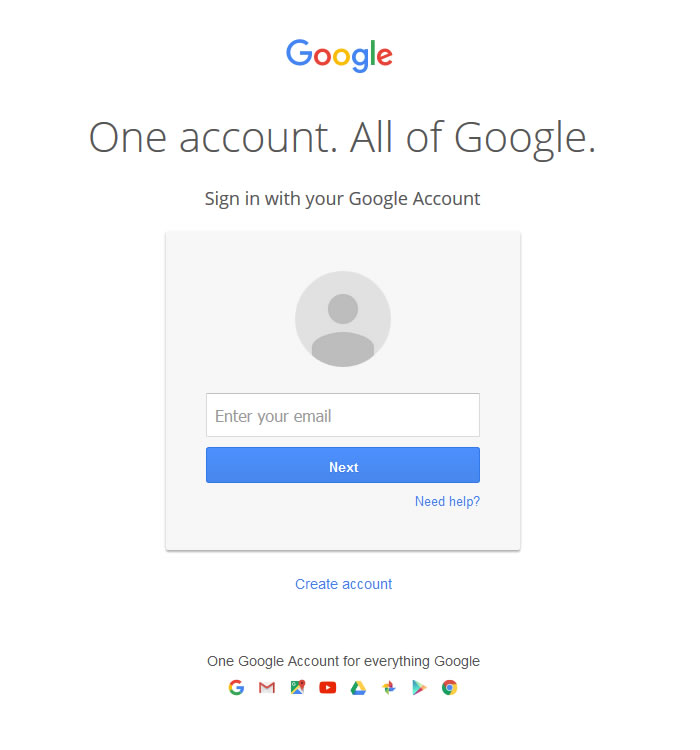 Google log in screen